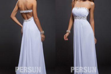 robe de soirée longue blanche empire bustier coeur ornée de bijoux
