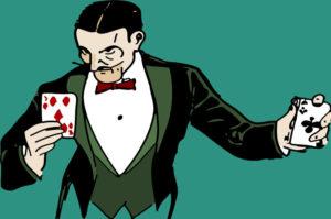 illusionniste et jeu de carte
