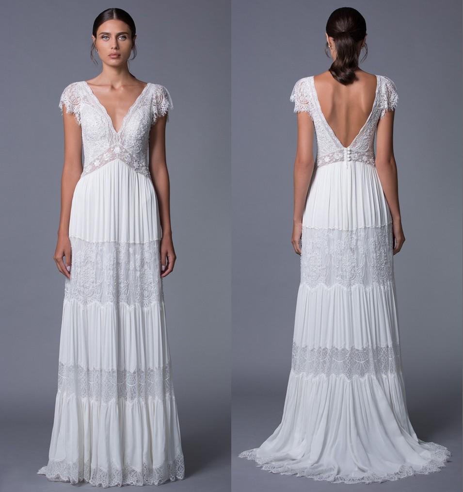 robe de mariée encolure en v en dentelle dos nu