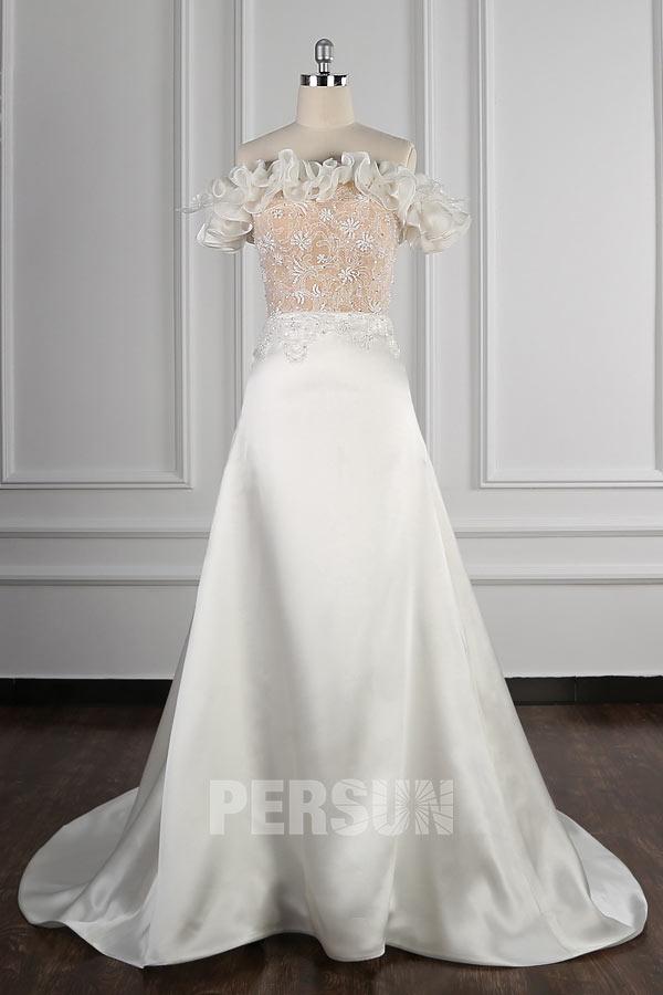 robe de mariée haut champagne col bardot bustier en dentelle florale froufrou